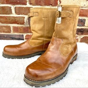 SKETCHERS Leather Rugged Motorcycle Lined Zip Boot